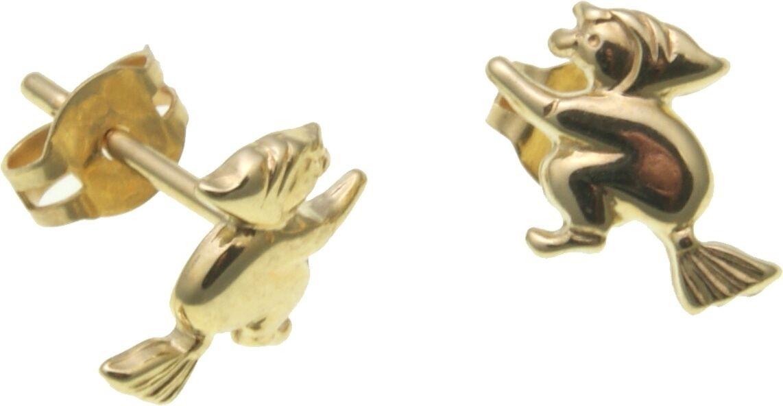 Kinder Ohrringe Stecker Hexe in Gold 333 Ohrstecker Gelbgold Qualität