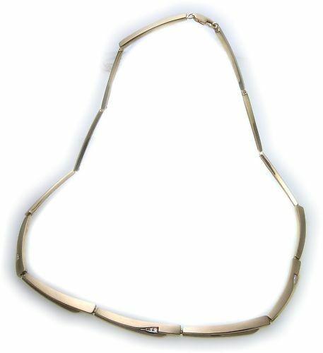 exklusives Collier echt Gold 333 Zirkonia teilmatt 8kt Halskette Damen Gelbgold