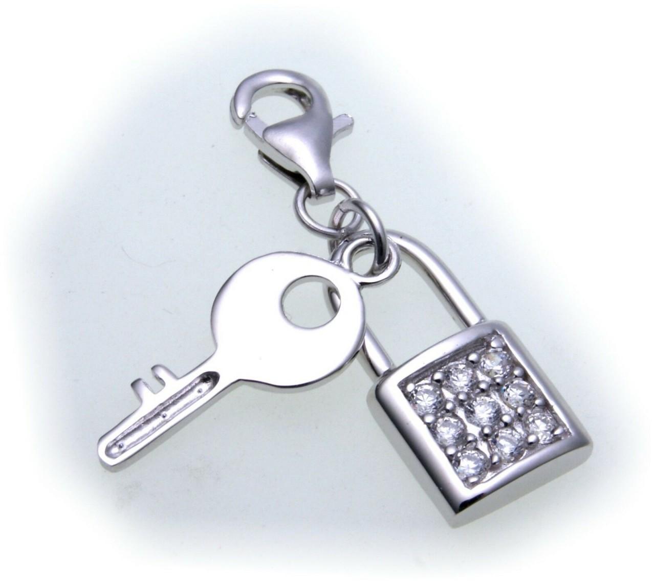 Charm Schloß mit Schlüssel Zirkonia echt Silber 925 Bettelarmband Vorhängeschloß
