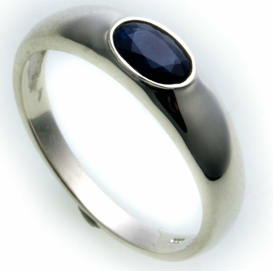 Bestpreis Damen Ring echt Weißgold 585 Safir 14kt Qualität Saphir Gold Germany