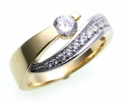 Damen Ring exklusiv echt Gold 585 Zirkonia teilrhod. Gelbgold Qualität