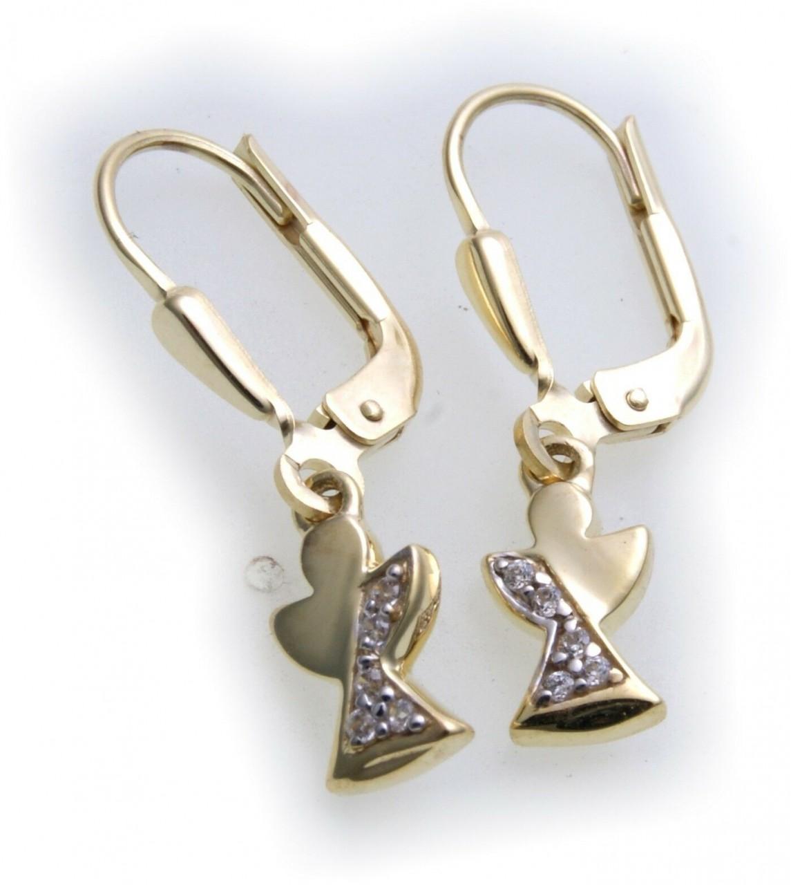 Damen Ohrringe Hänger Engel echt Gold 333 Schutzengel Ohrhänger 8kt Gelbgold