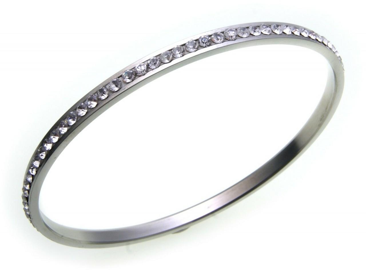 Armreif Edelstahl mit Kristall weiß poliert rundum gefasst 66 mm