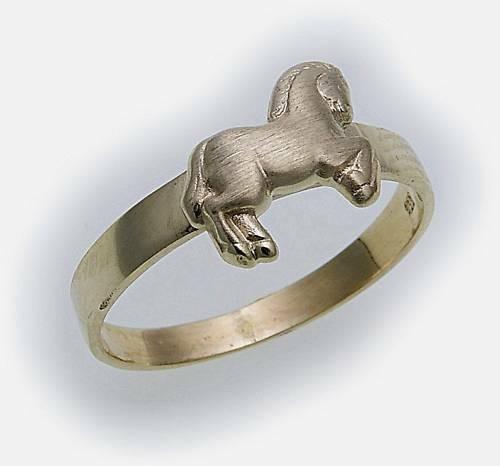 Kinder Ring Pferd echt Gold 585 massiv poliert Gelbgold Qualität