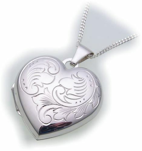 Anhänger echt Silber 925 Medaillon Herz Sterlingsilber Unisex