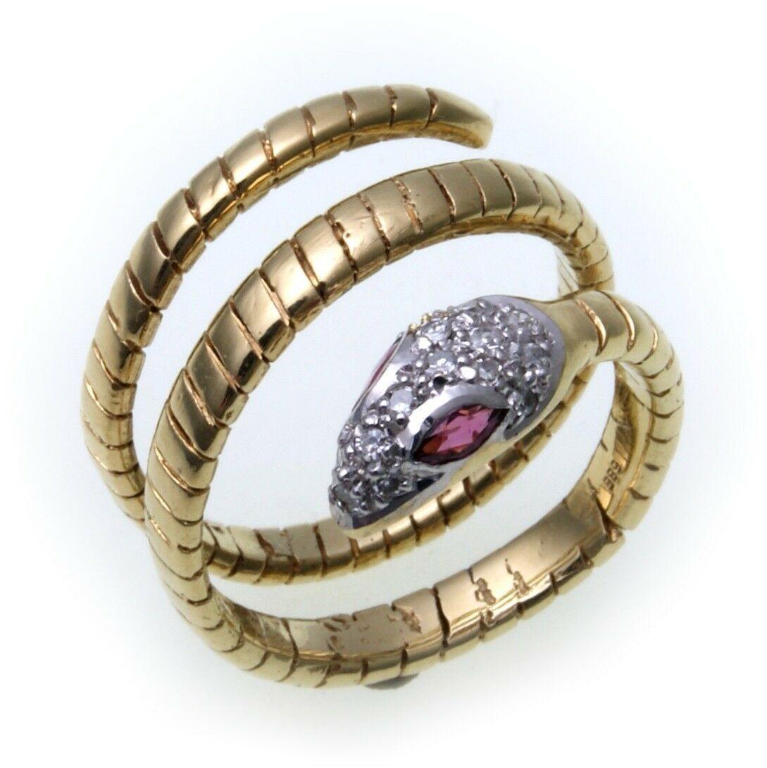 exkl. Schlangenring echt Gold 333 Rubin Zirkonia Ring Schlange Gelbgold Unisex