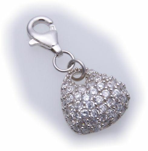 Charm Herz Zirkonia Silber 925 Einhänger Sterlingsilber Qualität