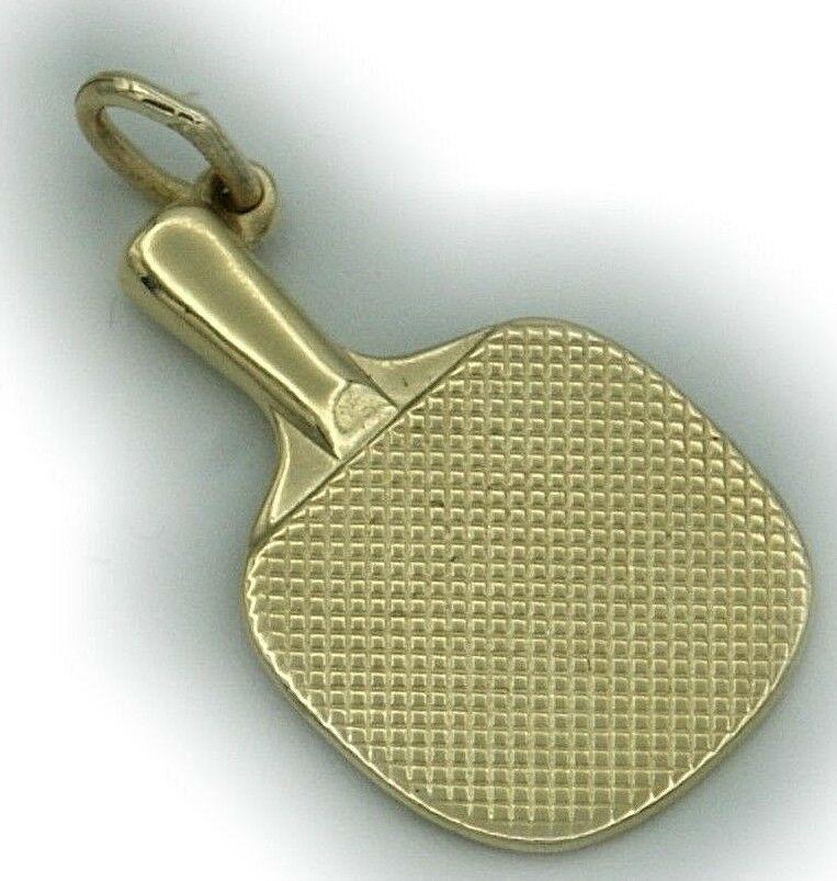 Neu Anhänger Tischtennis Schläger in Gold 58514 karat Gelbgold Unisex Tennis Top