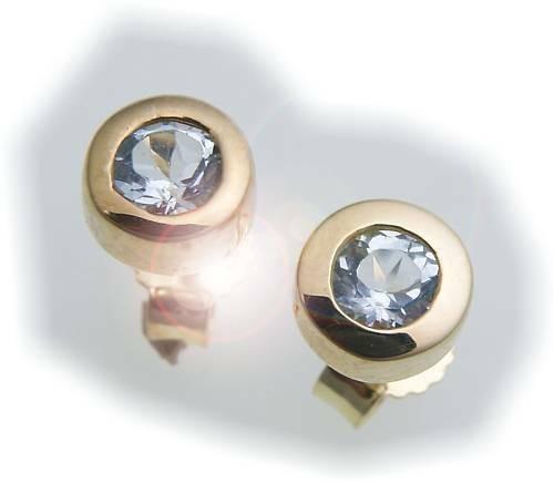 Damen Ohrringe Stecker Topas Gold 585 Gelbgold Ohrstecker Blautopas blau