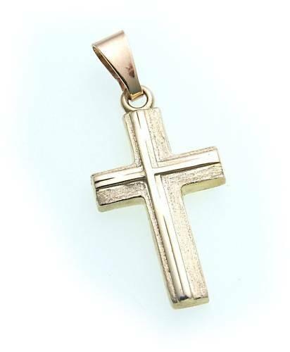 Anhänger Kreuz Gold 585 poliert 26 mm teilmatt. Gelbgold Unisex