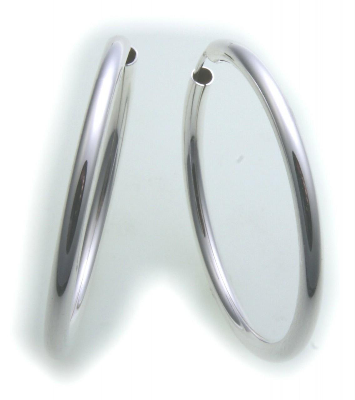 Ohrringe Creolen Silber 925 Glanz 40 mm Rohrform 3 mm Sterlingsilber Unisex