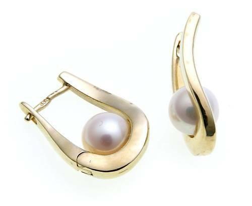 Ohrringe Klapp Creolen Gold 585 mit Perlen 6,5 mm Gelbgold Qualität Damen