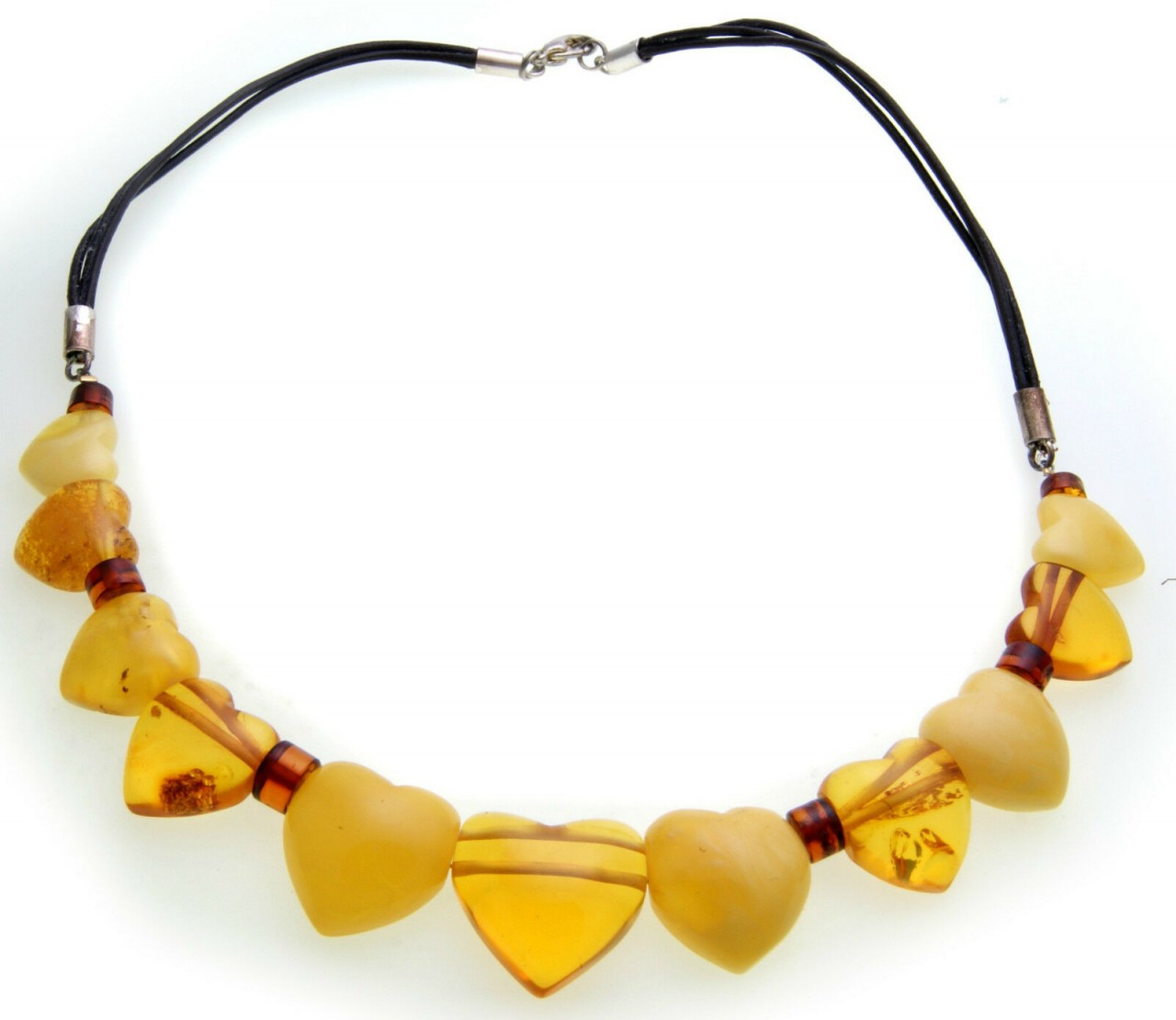 Neu Halskette echter Bernstein aus der Ostsee Herz Collier Damen Qualität Herzen