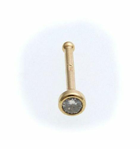 Piercing Nase echt Gold 750 mit Brillant Nasenstecker Gelbgold Diamant Neu 18kt