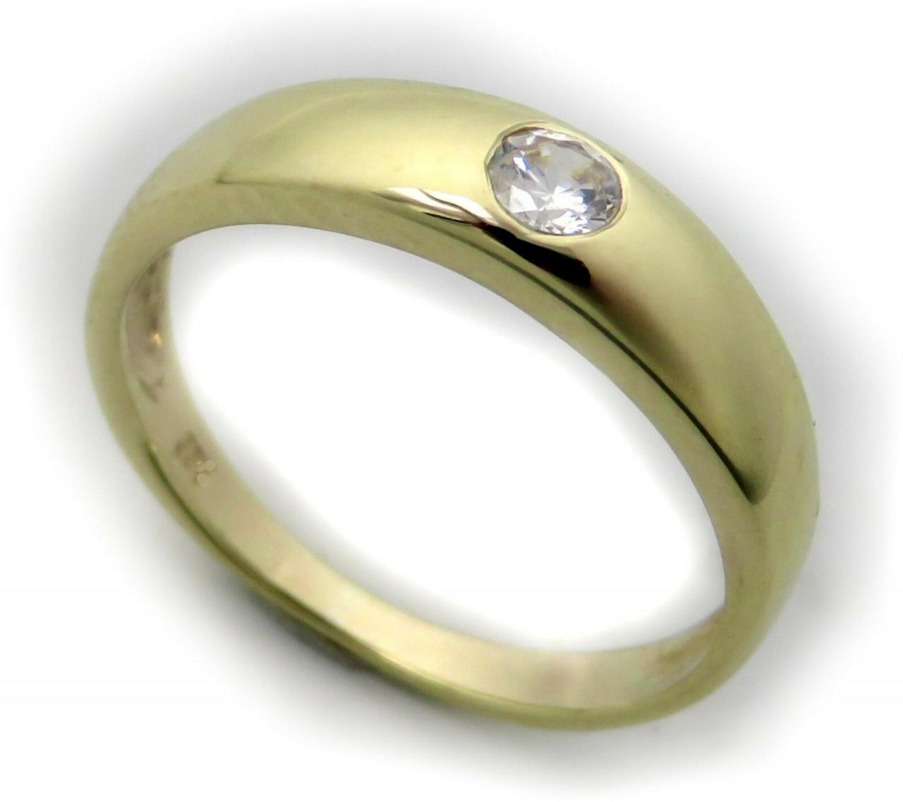 Damen Ring echt Gold 585 Diamant 0,10 ct Brillant 14 karat Taufring Gelbgold Neu
