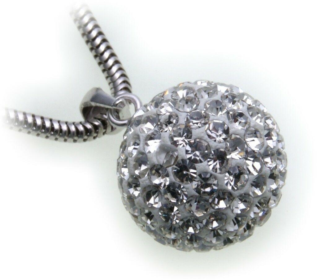 edler Anhänger echt Silber 925 Kugel mit Kristall weiß Sterlingsilber Qualität