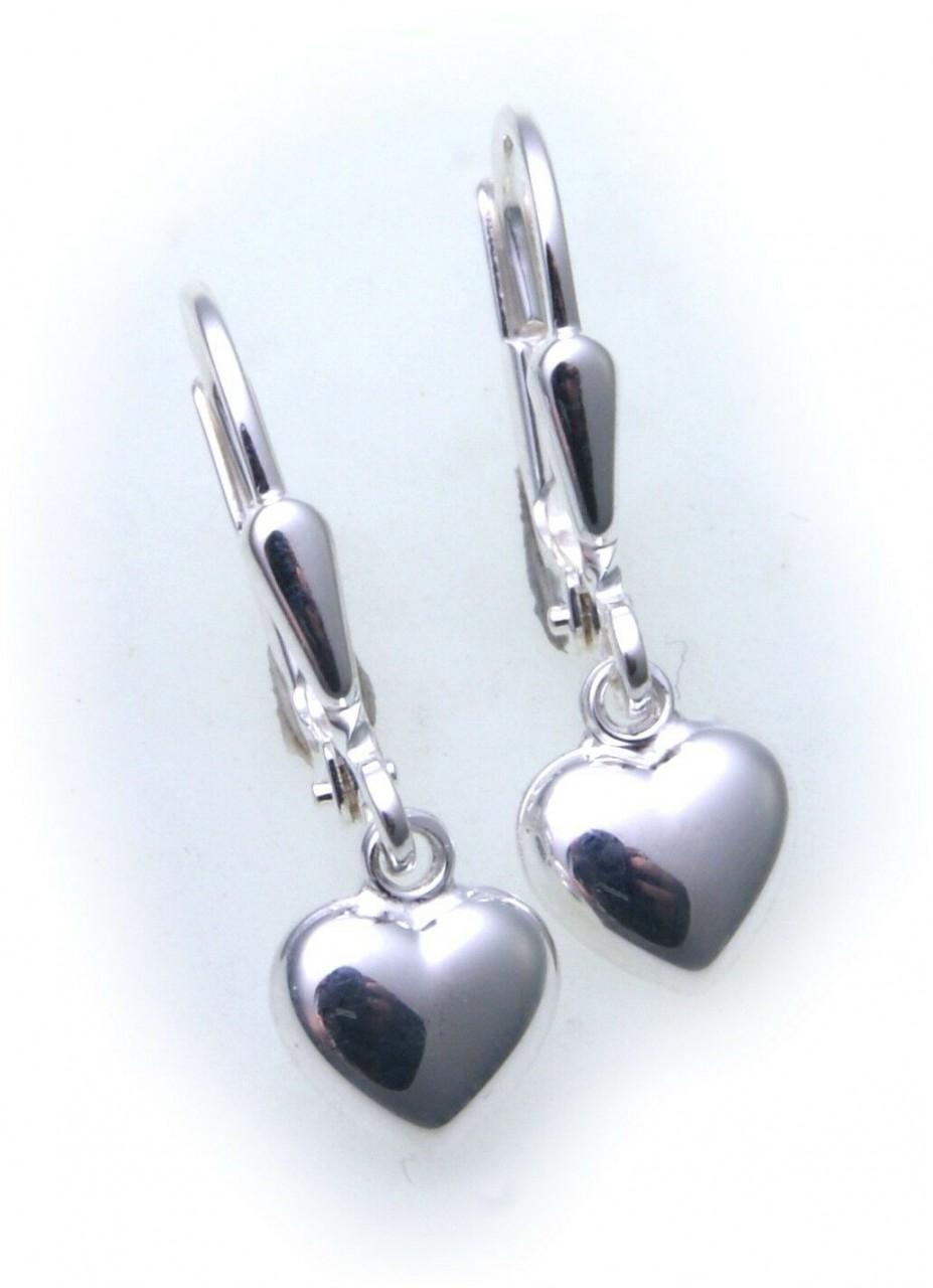 Ohrringe Hänger Herz Glanz echt Silber 925 Ohrhänger Sterlingsilber Unisex