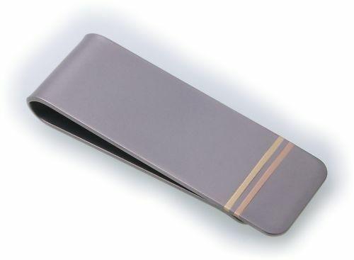 Geldscheinklammer Titan mattiert mit Rot und Gelbgold Gravur möglich Geldklammer