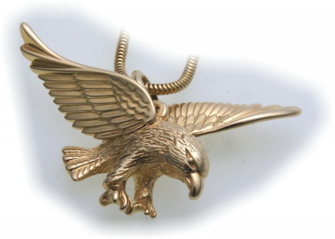 Anhänger Adler groß echt Gold 333 Vogel 8kt Qualität Raubvogel Gelbgold Unisex