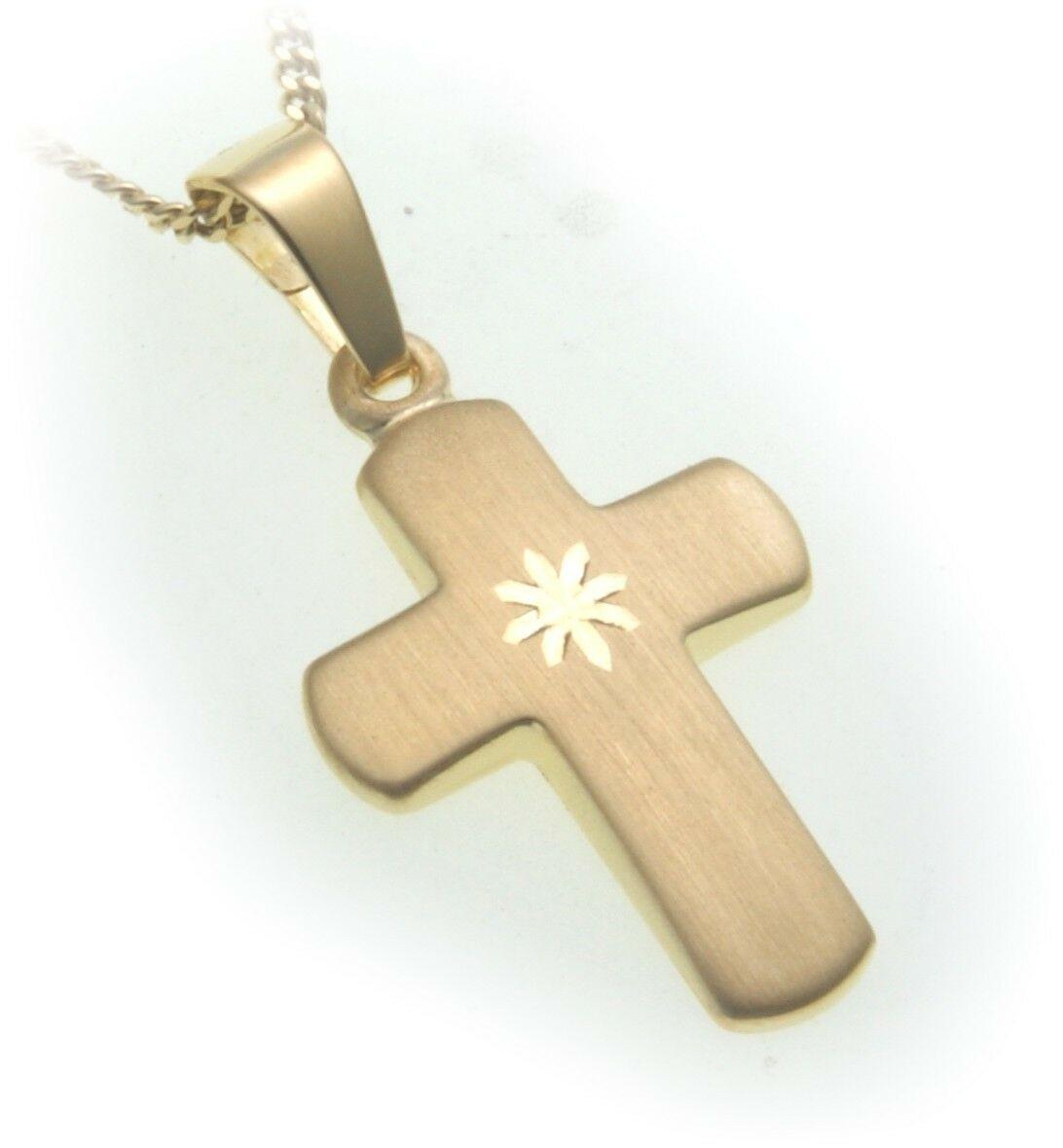 Anhänger Kreuz echt Gold 333 matt 23 mm günstig 8kt Qualität Gelbgold Unisex