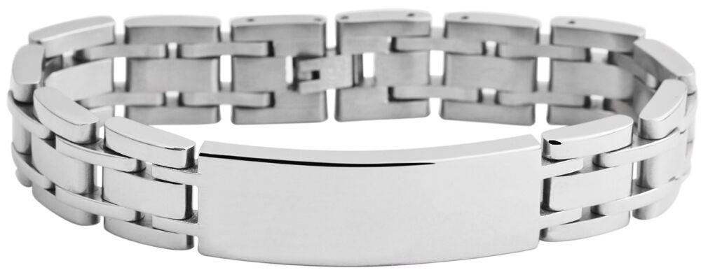 Armband Gliederarmband Edelstahl poliert Gravurplatte incl Gravur ID Band