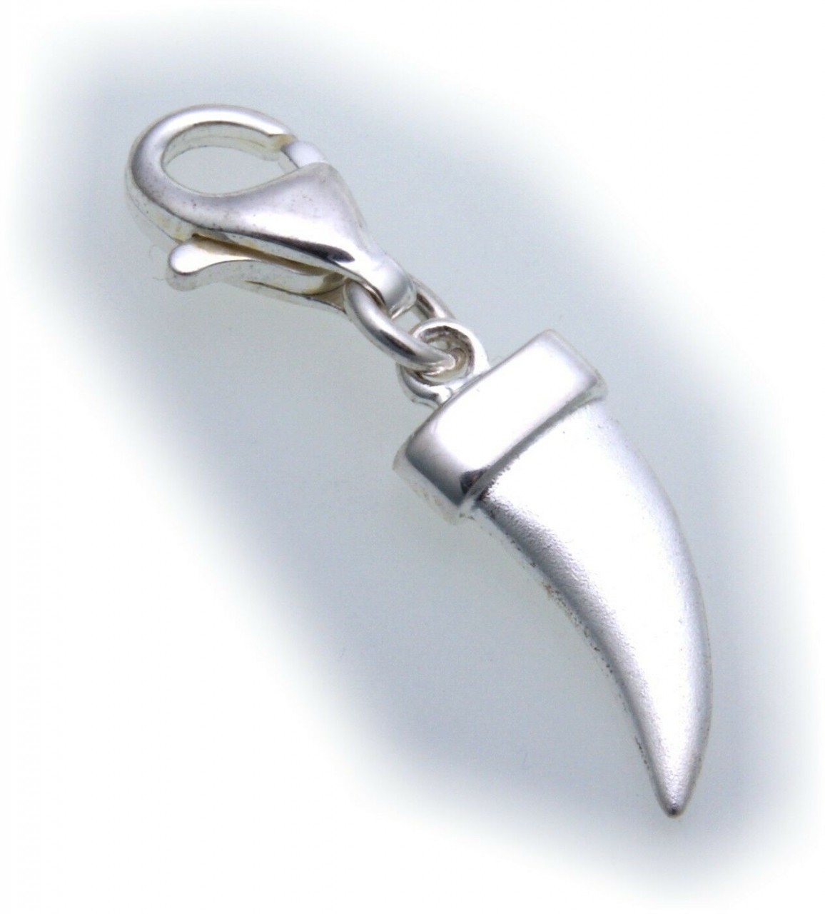Charm Zahn echt Silber 925 matt Einhänger Charms Bettelarmband Sterlingsilber
