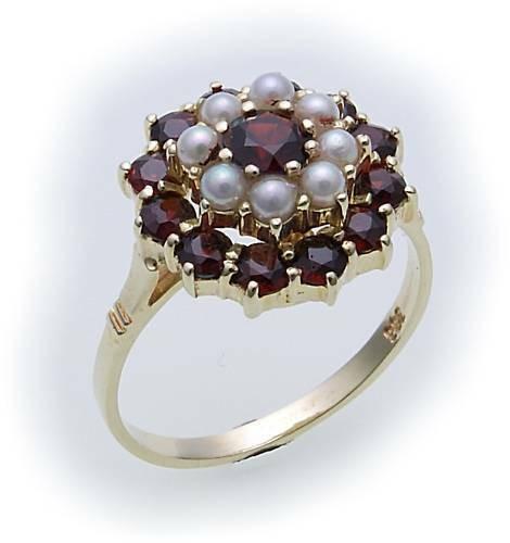 Damen Ring m. Granat u. Perlen in Gold 585 Gelbgold Granatring 8902/5GR.ZP