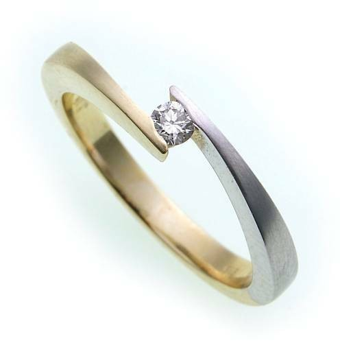 Damen Ring Brillant 0,023ct echt Gold 585 Bicolor Gelbgold Diamant SI