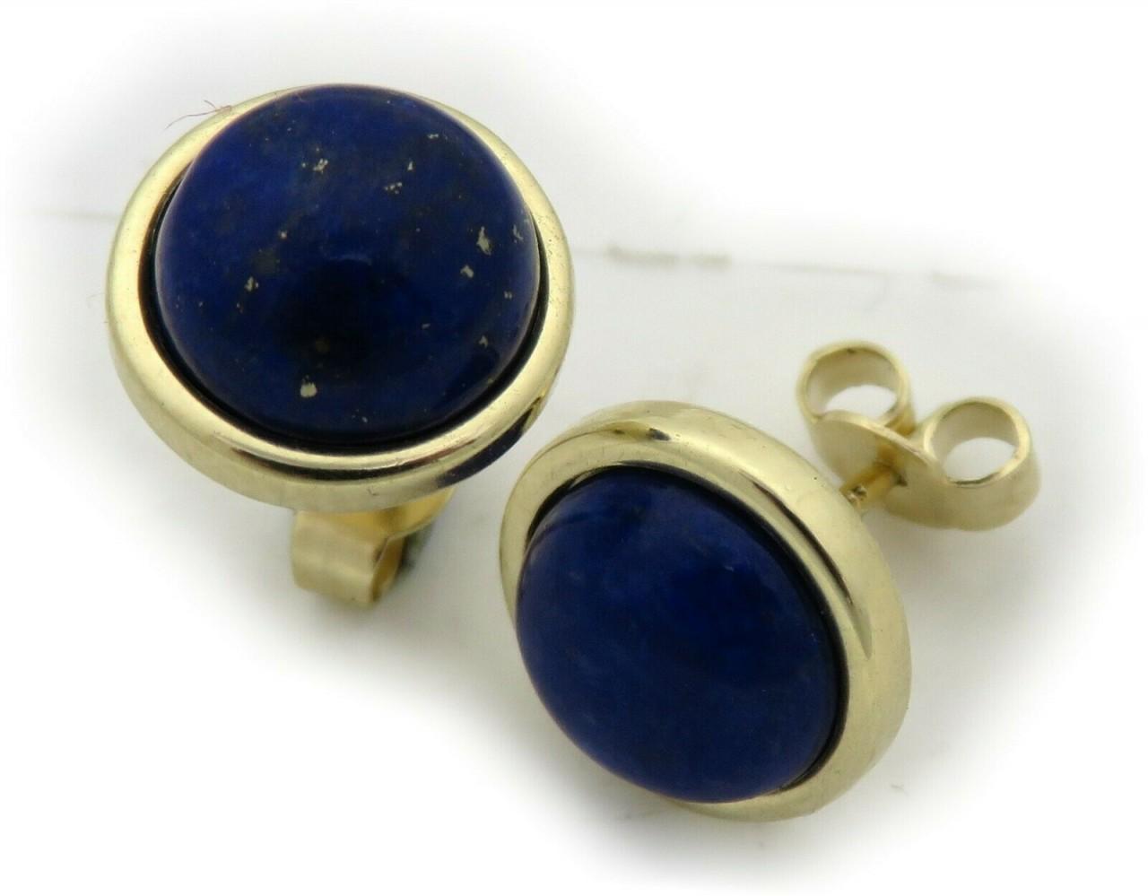Damen Ohrringe echt Lapis Lazuli 10mm echt Gold 585 Stecker Gelbgold Ohrstecker