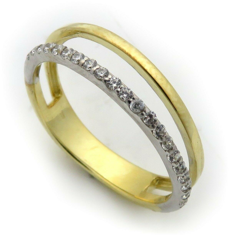 Damen Ring Perlen echt Gelbgold 333 8 karat Zirkonia Gold Qualität Bicolor Top