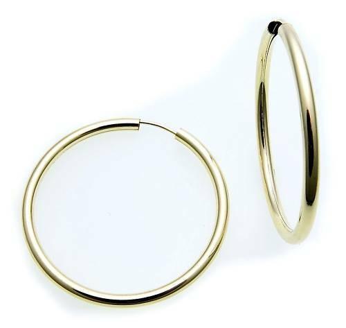 Ohrringe Creolen Gold 333 Glanz 30 mm Rohrform 3 mm stark 8kt Gelbgold Unisex