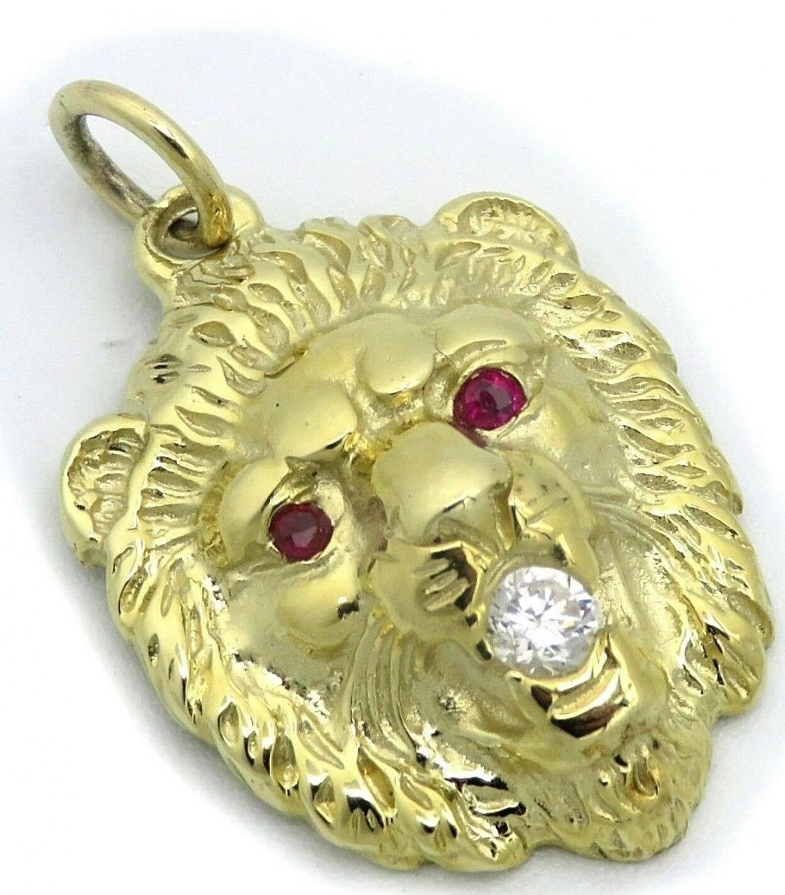 Neu Anhänger Löwe Kopf echt Gold 585 14 karat Rubin Zirkonia Gelbgold massiv