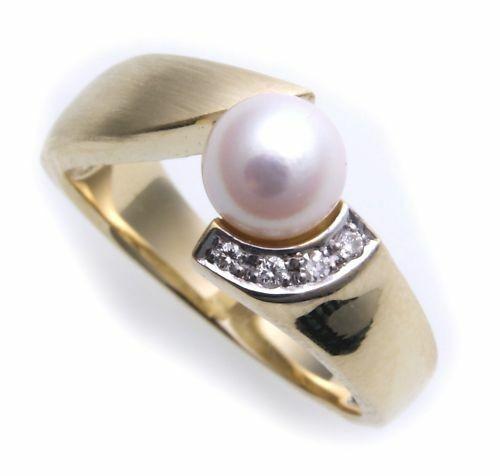 Damen Ring echt Gold 585 Brillant 0,03ct und Perle Gelbgold Diamant