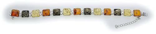 Armband echt Bernstein in Silber 925 Bernsteinarmband Sterlingsilber BL30