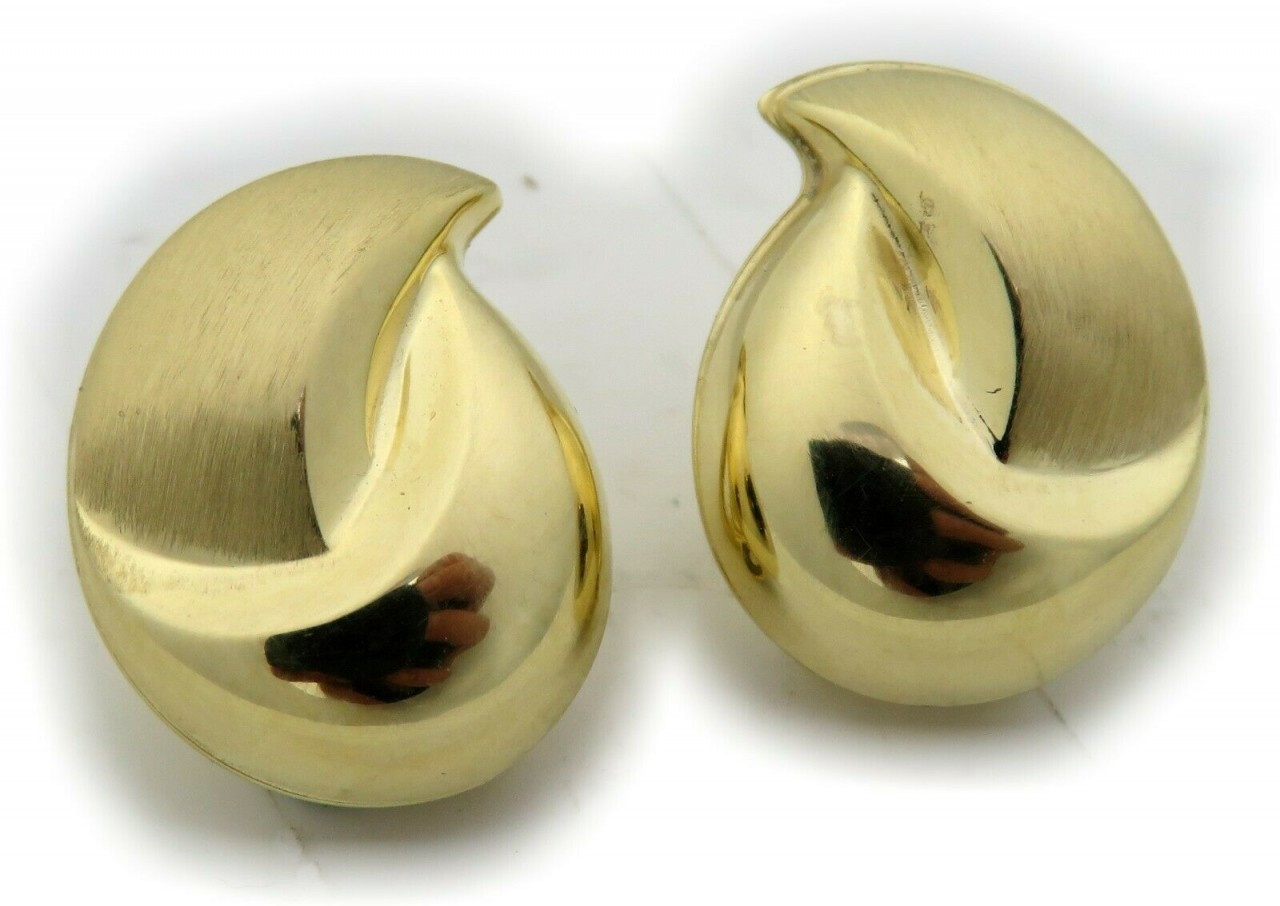 Damen Ohrringe Clip echt Gold 333 8 karat Gelbgold Tropfen 17 mm Ohrclip Clips