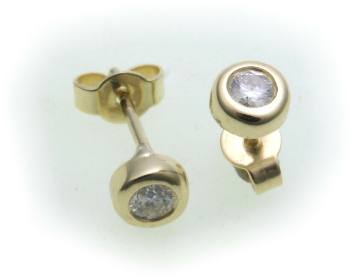 Damen Ohrringe Ohrstecker Gold 585 Brillant 0,20 ct Diamant Gelbgold 5 mm neu