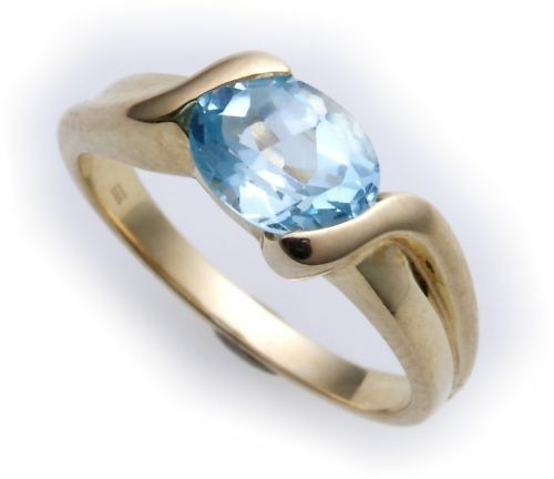 Damen Ring echt Gold 585 echt Topas 7x5 mm Glanz Gelbgold Qualität
