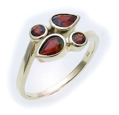 Damen Ring m. Granat in Gold 585 Gelbgold Granatring alle Weiten 8095/5GR