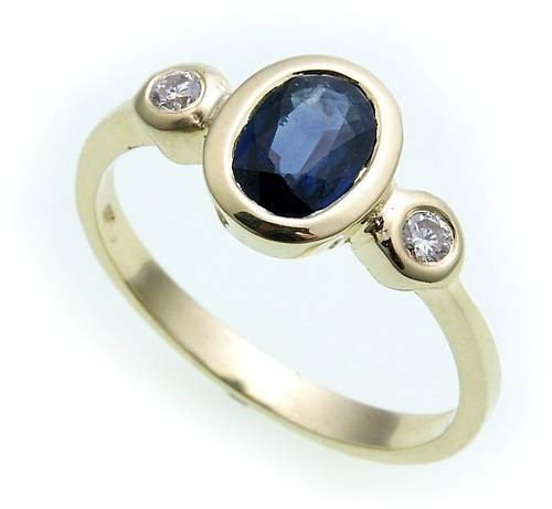 Damen Ring Safir Saphir echt Gold 585 14 karat Brillant 0,10ct Gelbgold Diamant