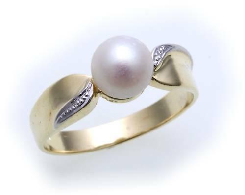 Damen Ring echt Gold 585 Perlen 7,5 mm Brillant 0,01 Gelbgold Diamant