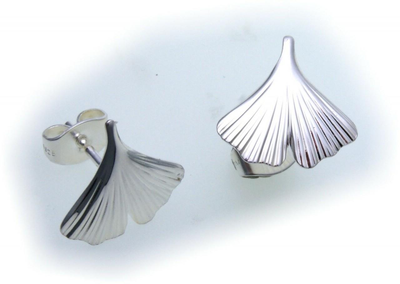 Ohrringe Ginkoblatt Ginkgo echt Silber 925 Ginkgoblatt Ginko Ohrstecker Stecker