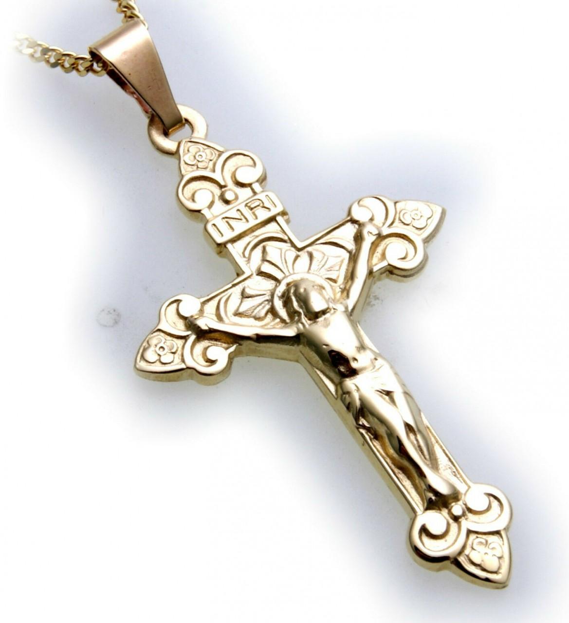 Anhänger Kreuz mit Jesus echt Gold 585 Gelbgold 14kt Top Qualität INRI Unisex