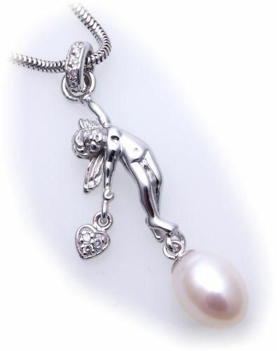 Anhänger echt Silber 925 Engel mit Herz SWP Zirkonia Sterlingsilber Damen