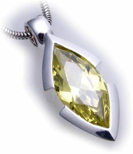 großer Anhänger echt Silber 925 Zirkonia grün XL Stein Sterlingsilber