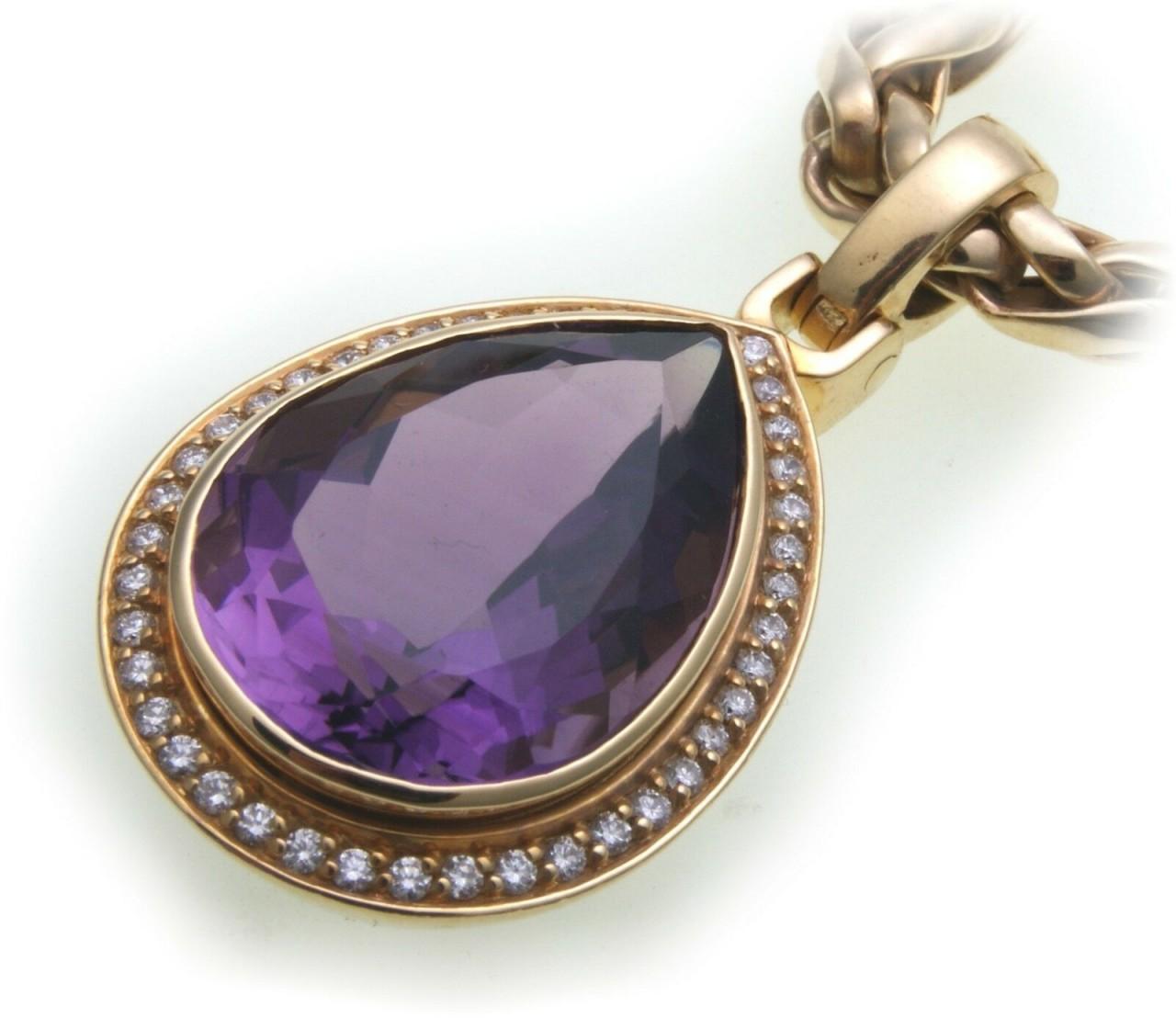 Anhänger Amethyst echt Gold 750 Brillant 0,42 ct 18kt Diamant massiv Gelbgold