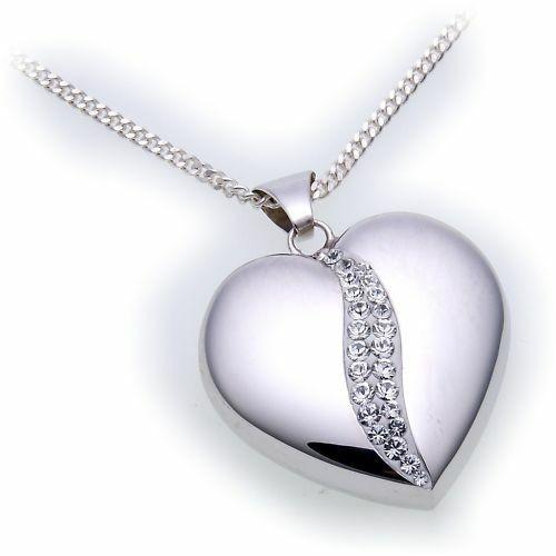 Anhänger echt Silber 925 Herz mit Kristallen Sterlingsilber Damen