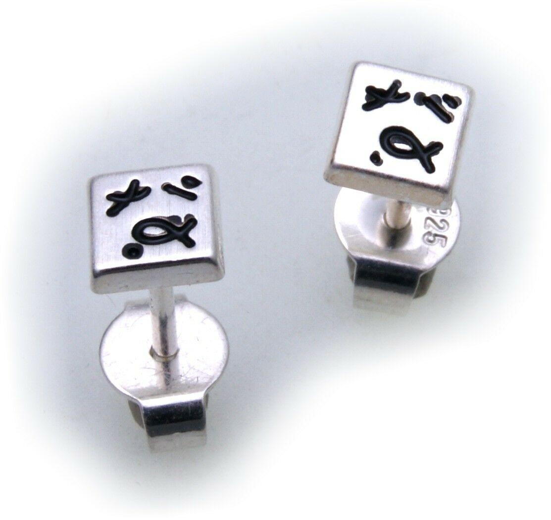 Damen Ohrringe Quadrat echt Silber 925 Qualität Ohrstecker Sterlingsilber