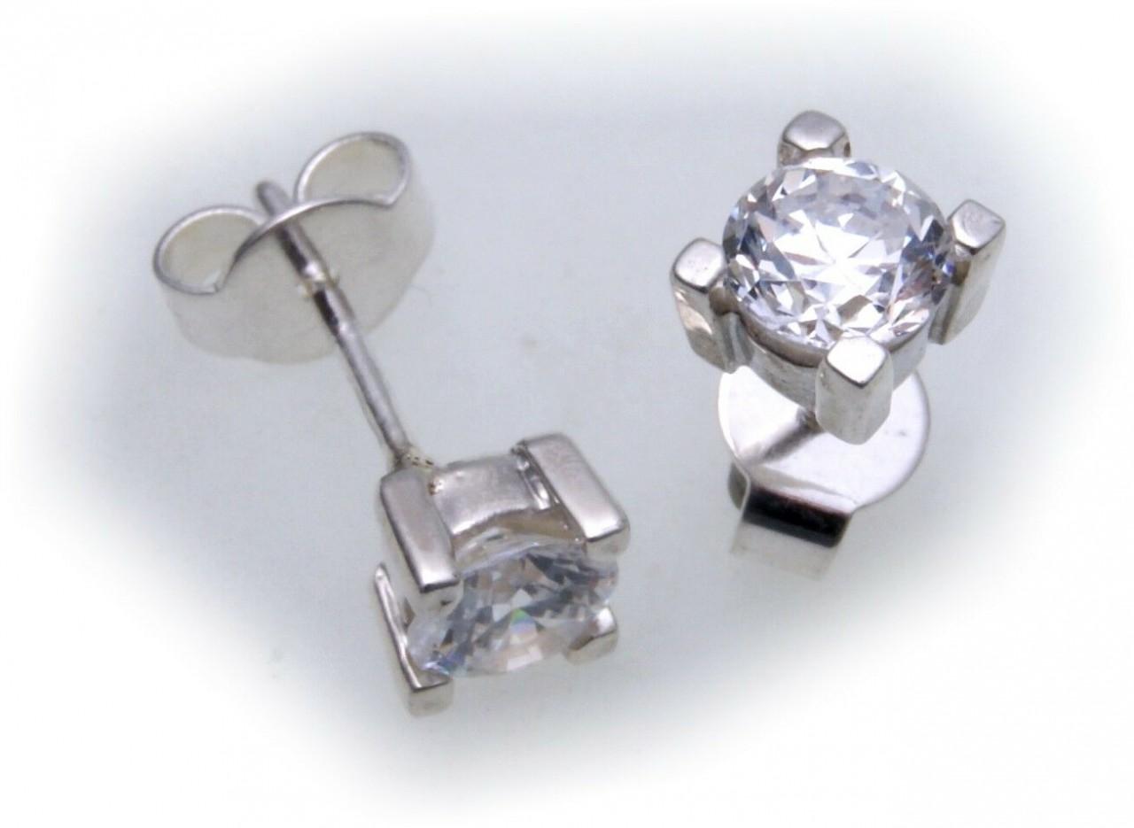 Ohrringe Stecker rund 5,5 mm Zirkonia echt Silber 925 Ohrstecker Sterlingsilber