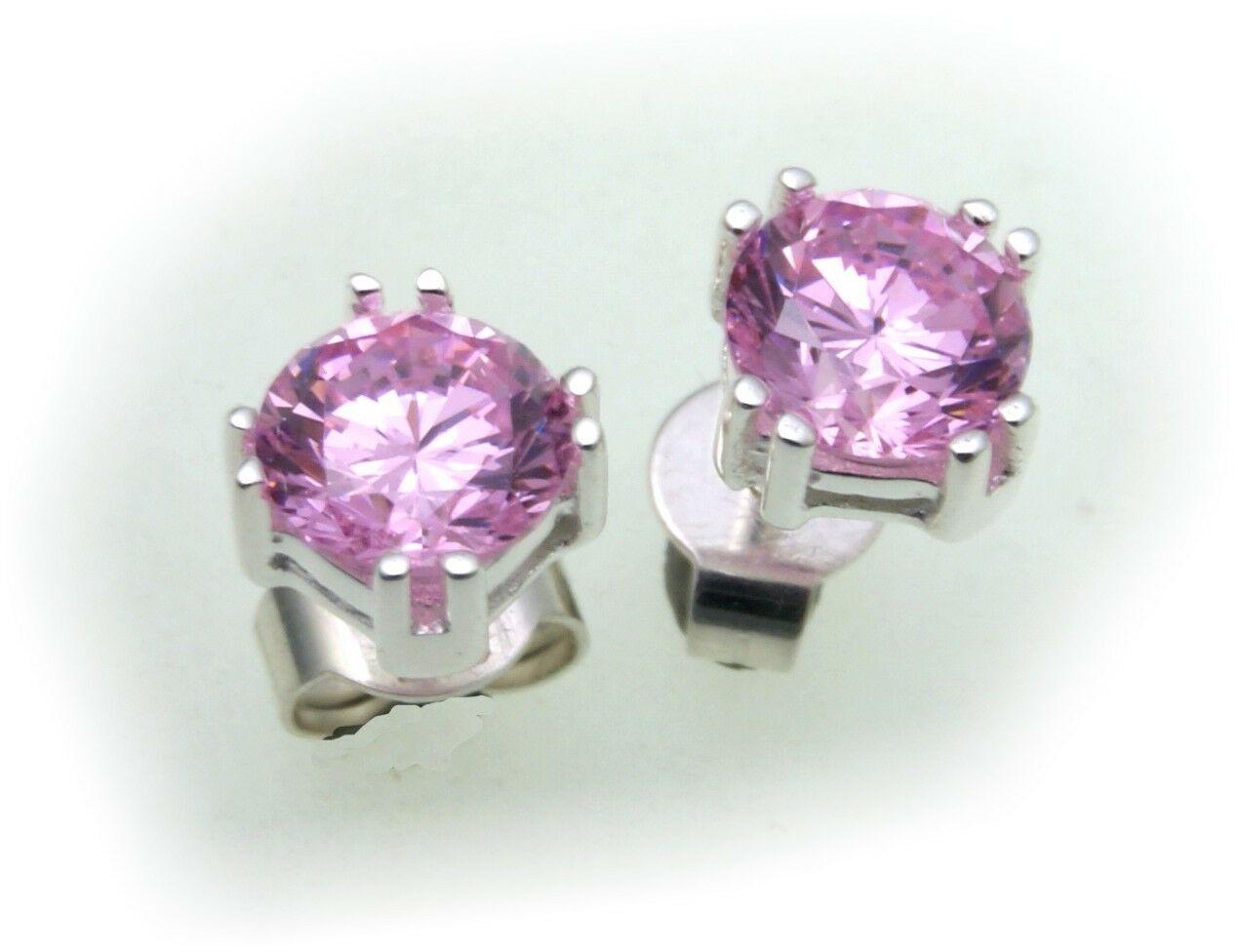 Damen Ohrringe rund 7mm Zirkonia pink echt Silber 925 Sterlingsilber Ohrstecker