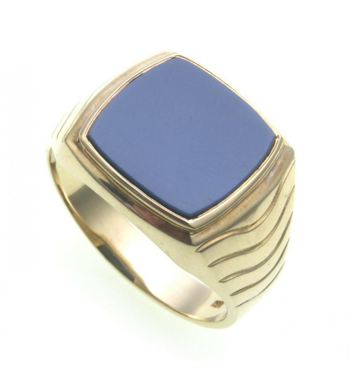 Herren Ring echt Gold 585 echt Lagenstein Siegelring 14kt Qualität blau Gelbgold